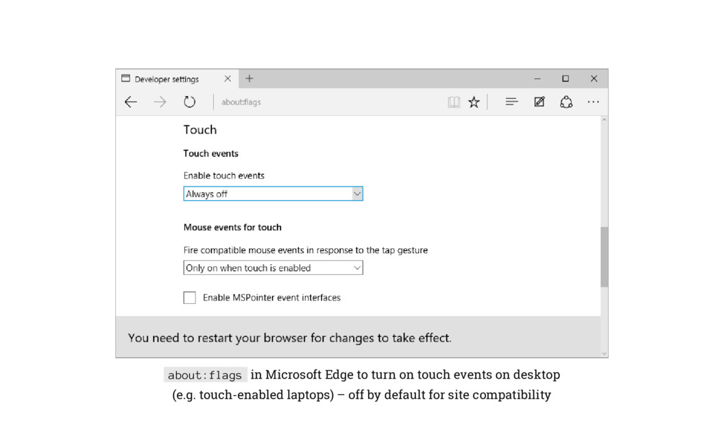 about:flags in Microsoft Edge to turn on touch ...