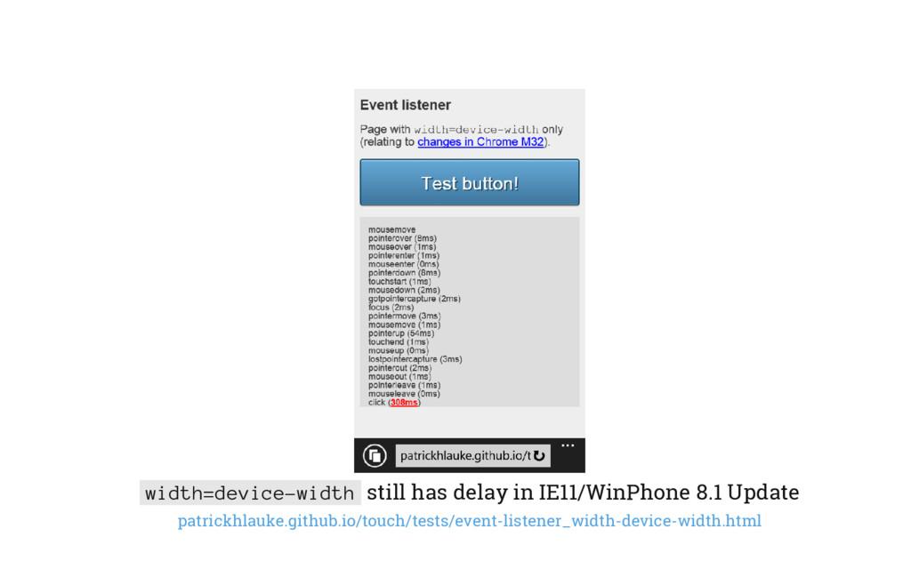 width=device-width still has delay in IE11/WinP...