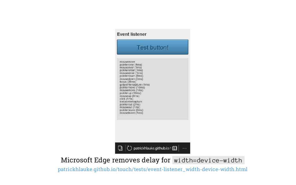 Microsoft Edge removes delay for width=device-w...