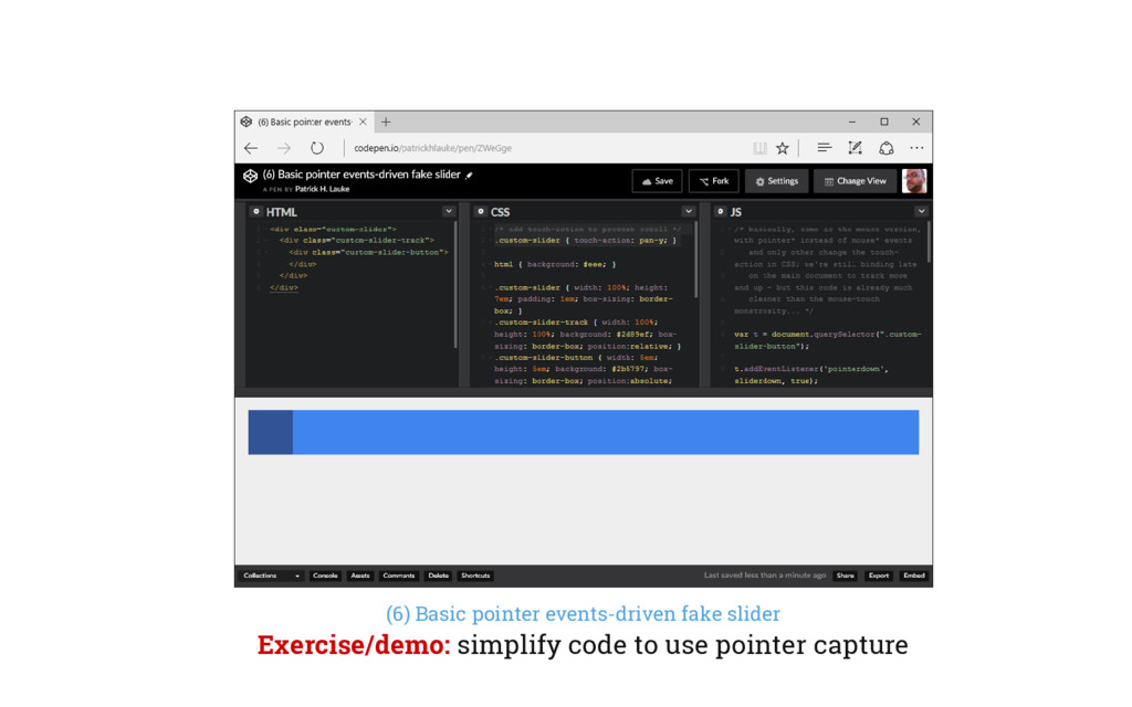 (6) Basic pointer events-driven fake slider Exe...