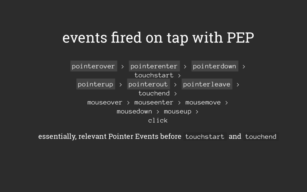 events fired on tap with PEP pointerover > point...