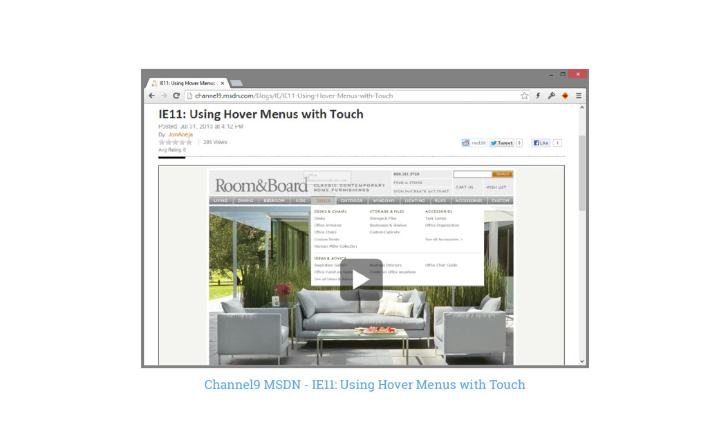 Channel9 MSDN - IE11: Using Hover Menus with To...