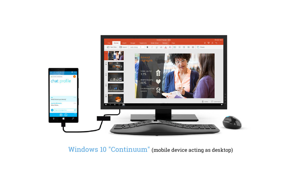 """Windows 10 """"Continuum"""" (mobile device acting as..."""