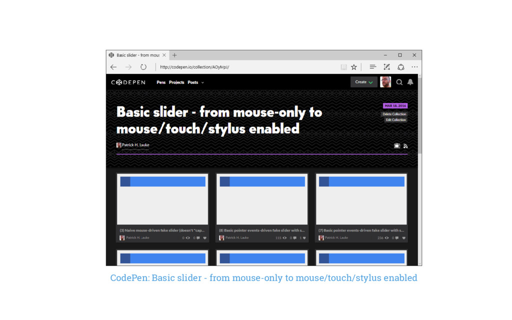 CodePen: Basic slider - from mouse-only to mous...