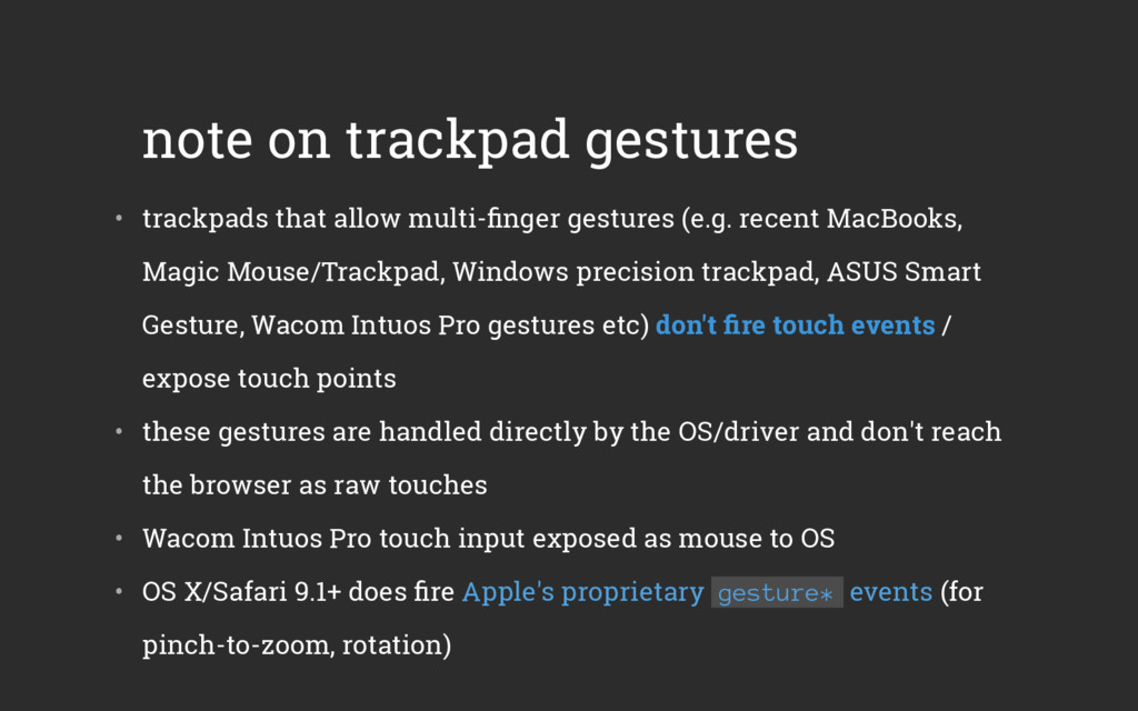 note on trackpad gestures • trackpads that all...