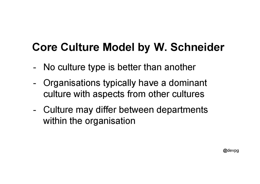 @devpg Core Culture Model by W. Schneider -  No...