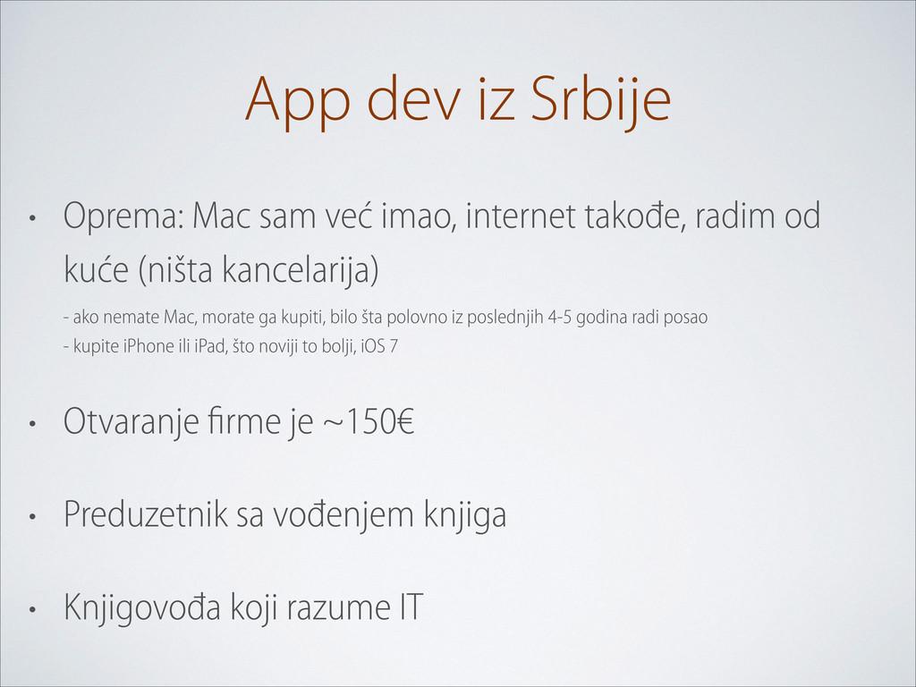 App dev iz Srbije • Oprema: Mac sam već imao, i...