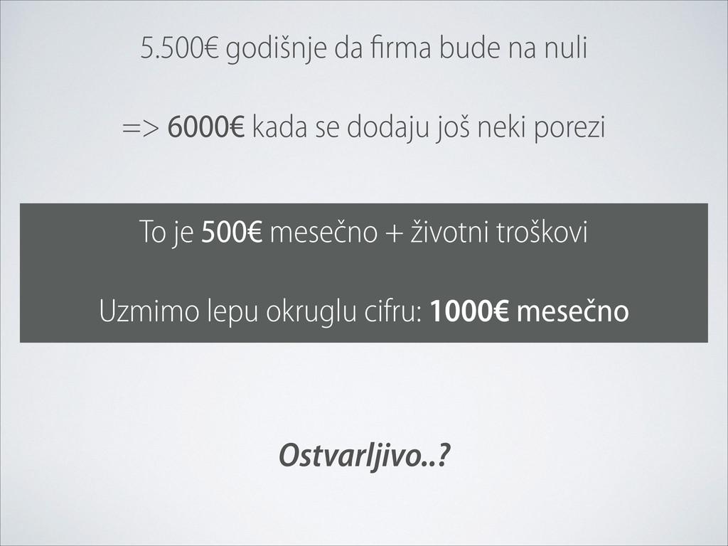 5.500€ godišnje da firma bude na nuli => 6000€ ...