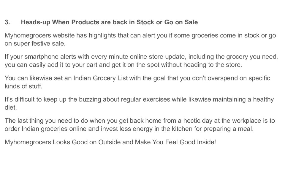 3. Heads-up When Products are back in Stock or ...