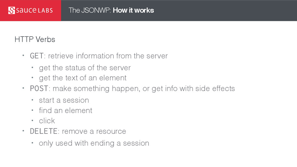 The JSONWP: How it works HTTP Verbs • GET: retr...