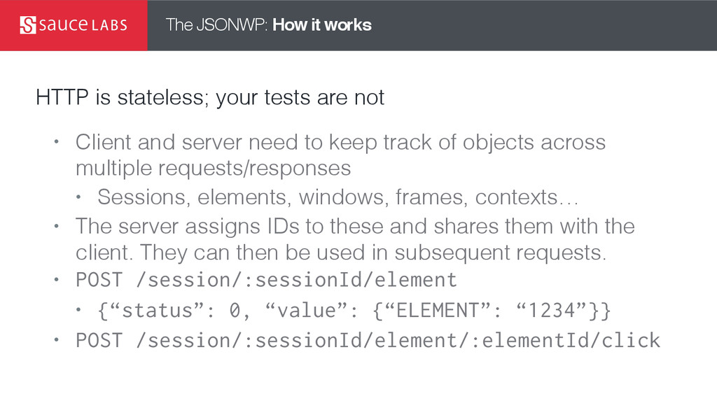 The JSONWP: How it works HTTP is stateless; you...