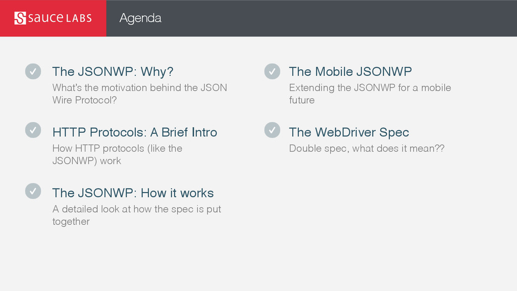 Agenda The JSONWP: Why? What's the motivation b...
