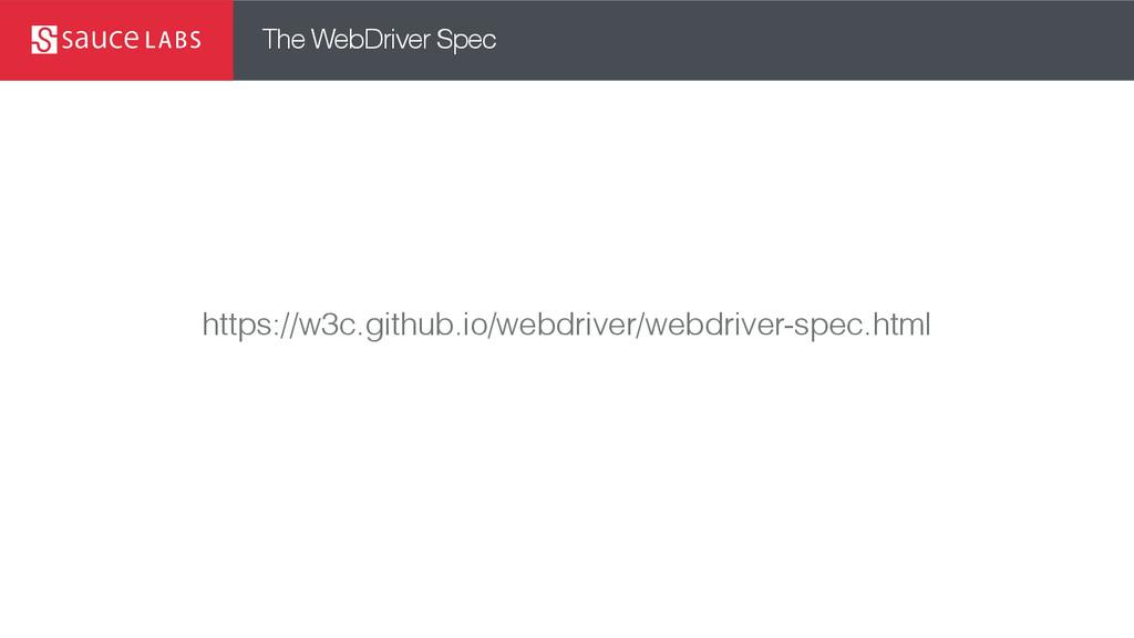 The WebDriver Spec https://w3c.github.io/webdri...