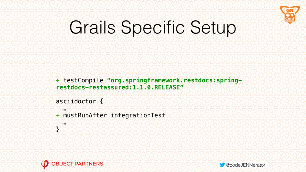 "Grails Specific Setup + testCompile ""org.springf..."