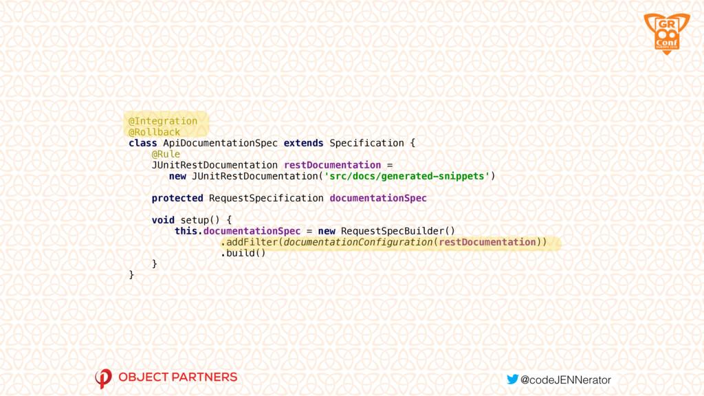 @Integration @Rollback class ApiDocumentation...