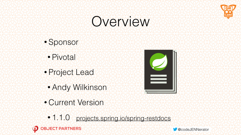 Overview • Sponsor • Pivotal • Project Lead • A...