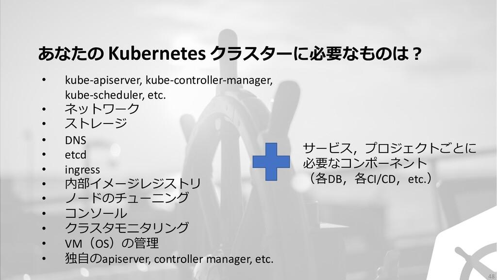 あなたの Kubernetes クラスターに必要なものは︖ サービス,プロジェクトごとに 必要...