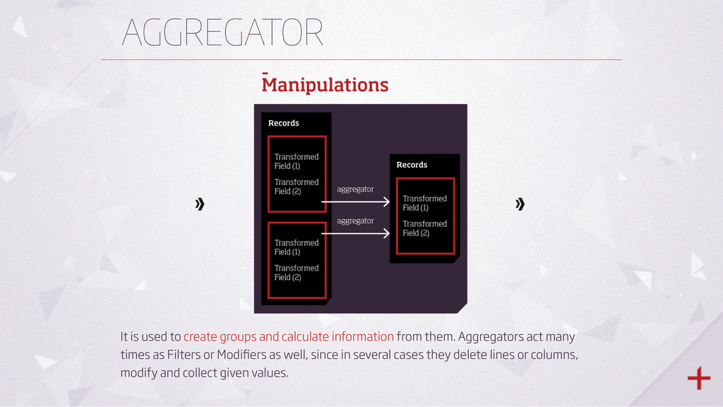 AGGREGATOR It is used to create groups and calc...