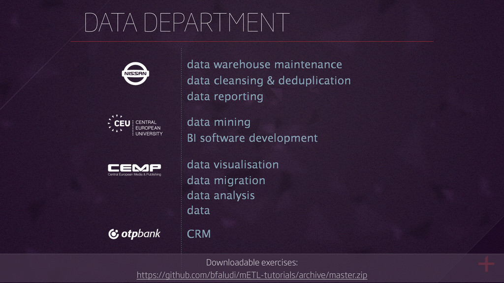DATA DEPARTMENT data mining data cleansing & de...