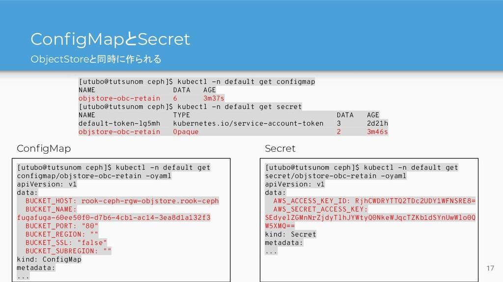 ObjectStoreと同時に作られる ConfigMapとSecret [utubo@tuts...