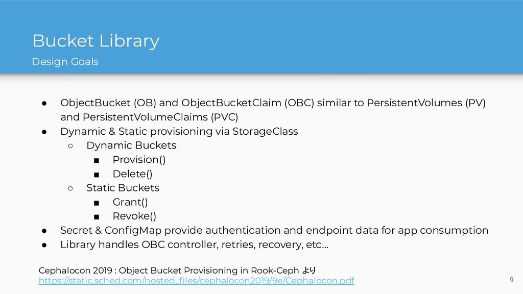 Bucket Library ● ObjectBucket (OB) and ObjectBu...