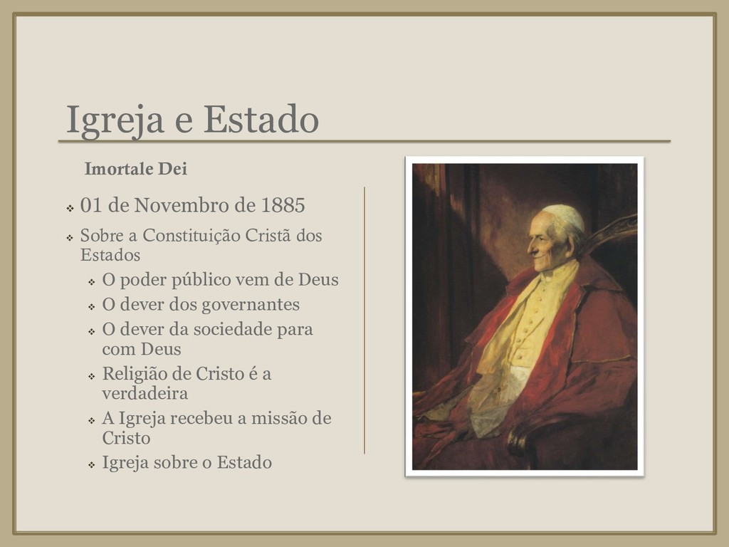 Igreja e Estado ❖ 01 de Novembro de 1885 ❖ Sobr...