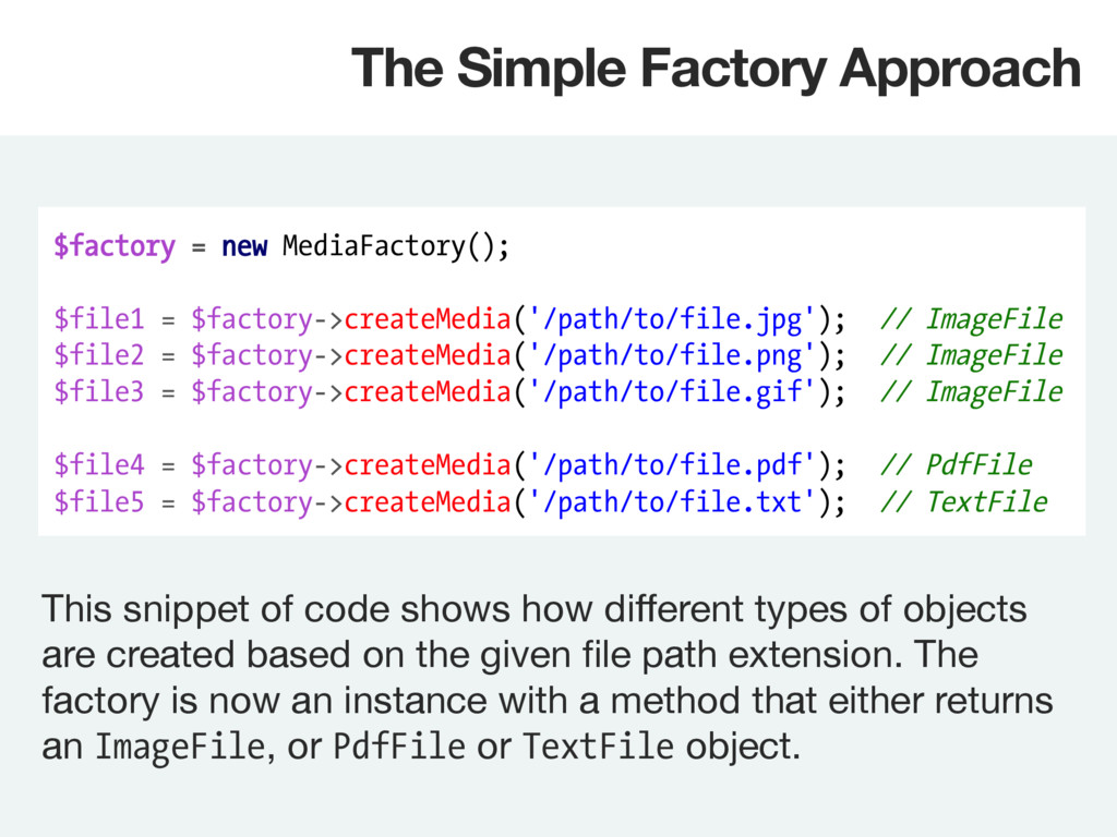 $factory = new MediaFactory(); $file1 = $factor...
