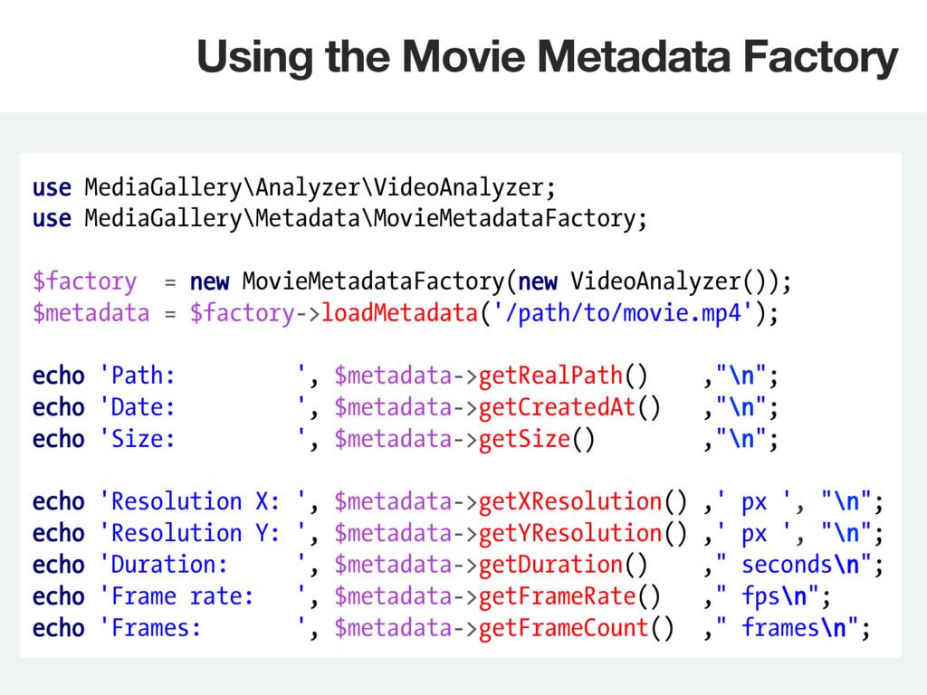 use MediaGallery\Analyzer\VideoAnalyzer; use Me...