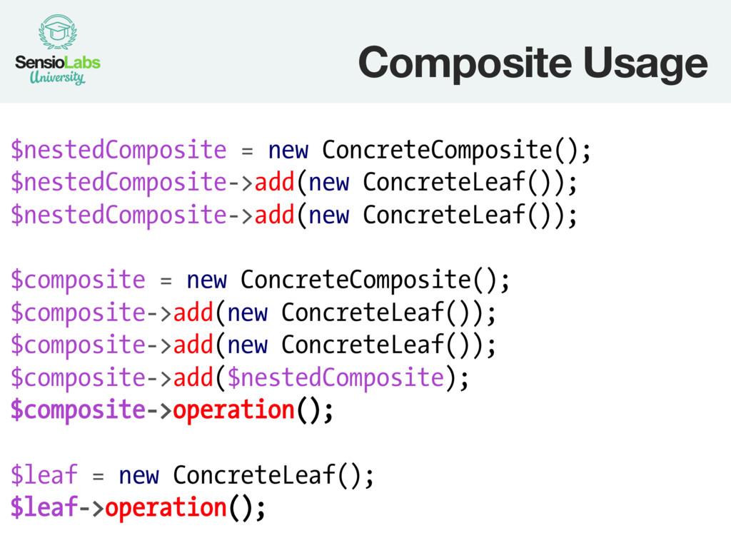 Composite Usage $nestedComposite = new Concret...