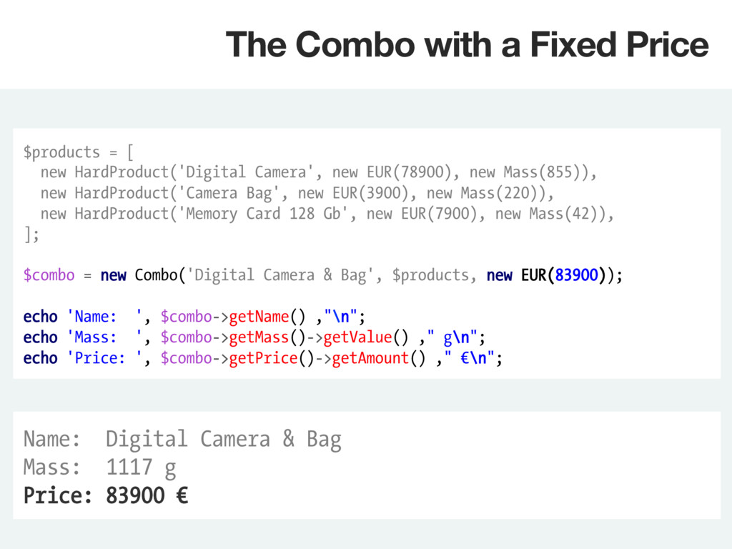 $products = [ new HardProduct('Digital Camera',...
