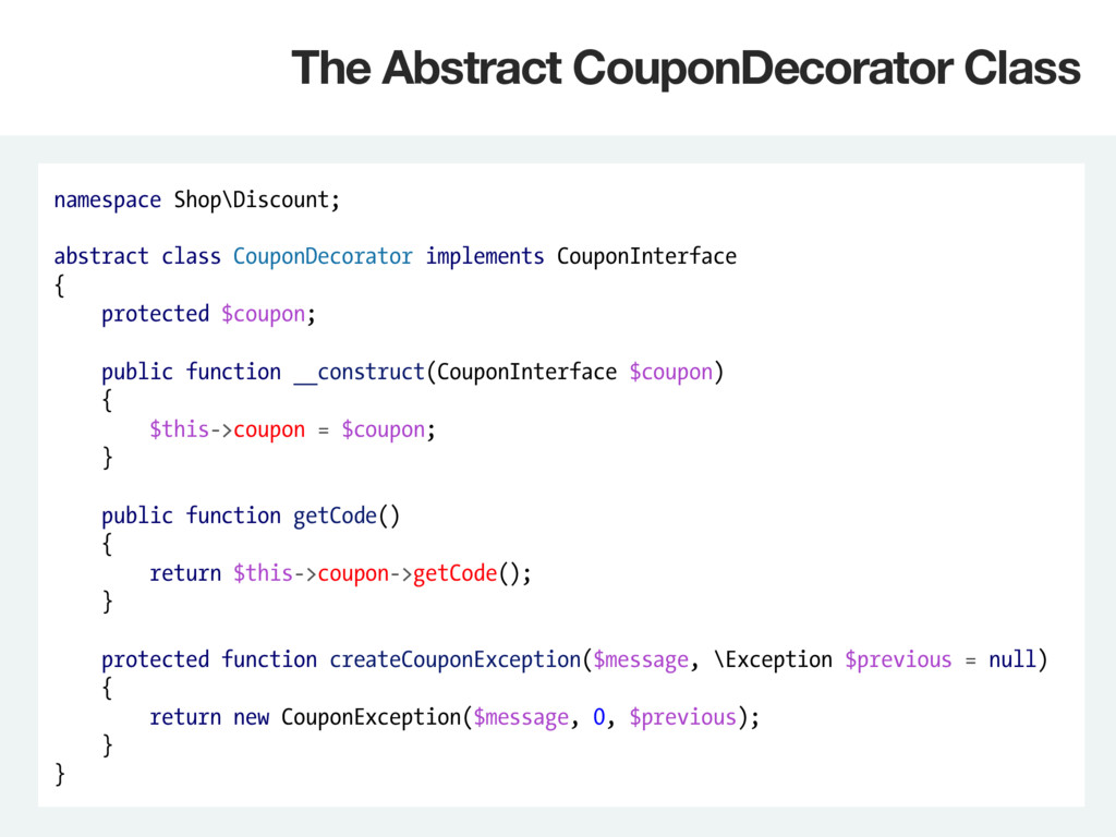namespace Shop\Discount; abstract class CouponD...