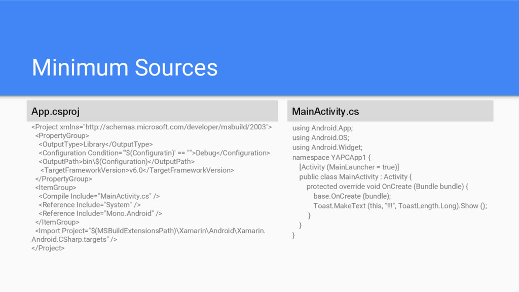"Minimum Sources <Project xmlns=""http://schemas...."