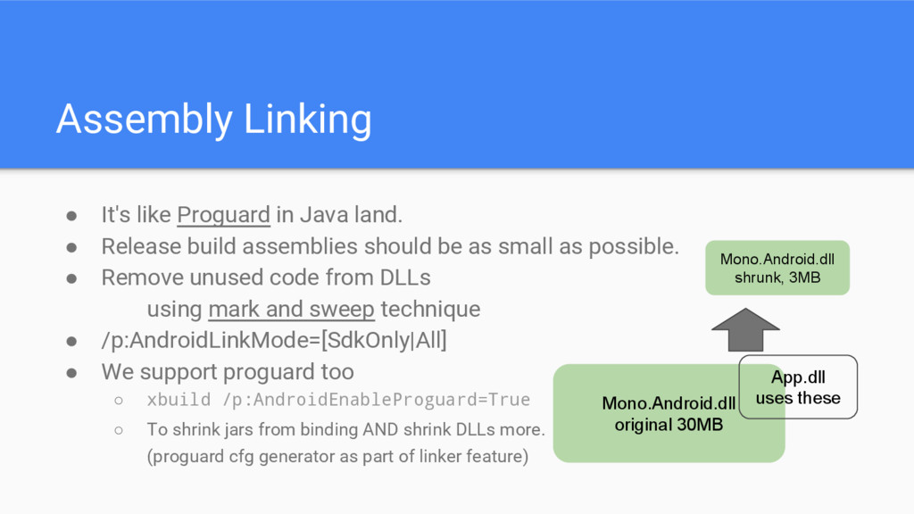 Assembly Linking ● It's like Proguard in Java l...