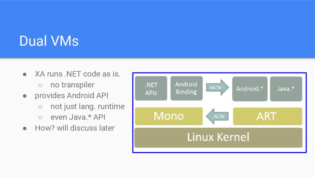 Dual VMs ● XA runs .NET code as is. ○ no transp...