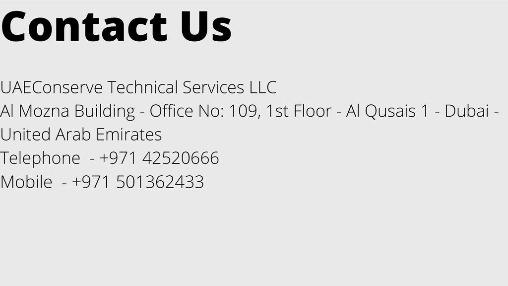 Contact Us UAEConserve Technical Services LLC A...