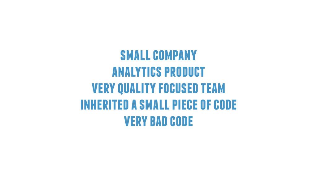 small company analytics product very quality fo...