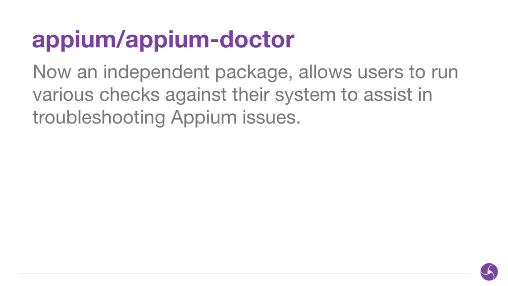 appium/appium-doctor Now an independent package...