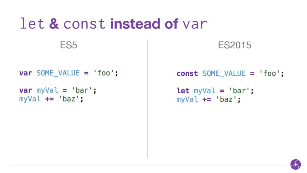 let & const instead of var ES5 ES2015