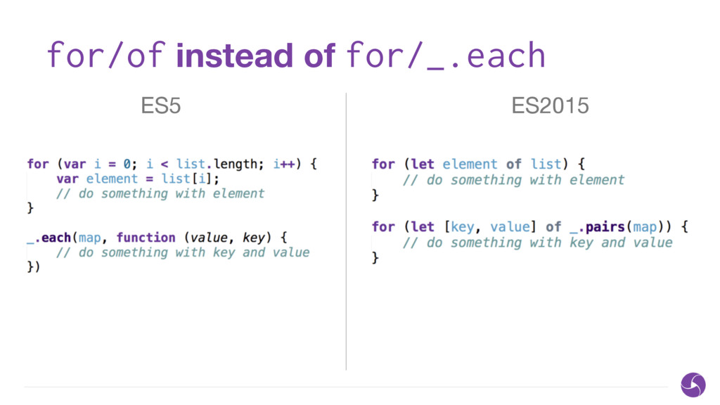 for/of instead of for/_.each ES5 ES2015