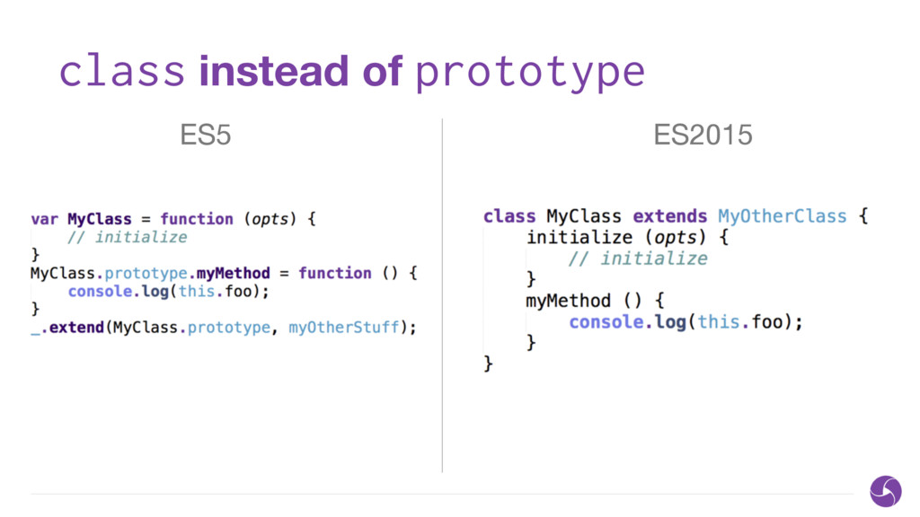 class instead of prototype ES5 ES2015