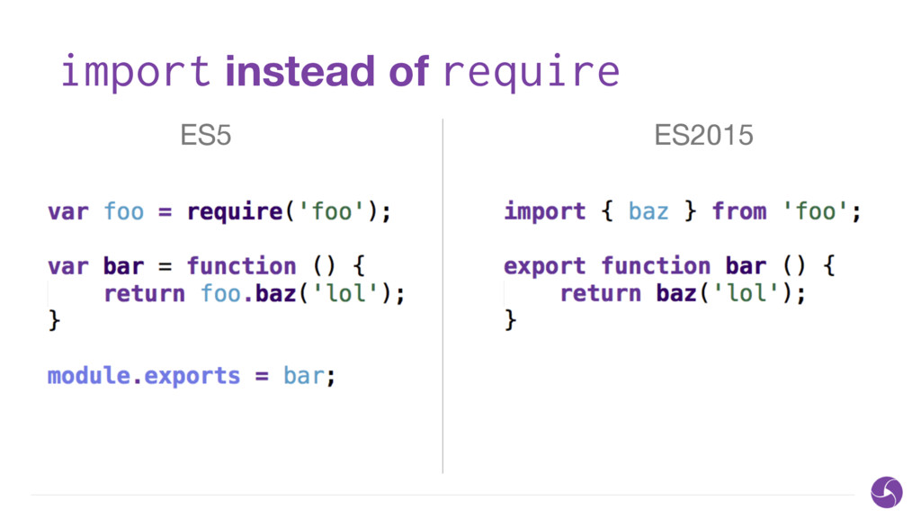 import instead of require ES5 ES2015