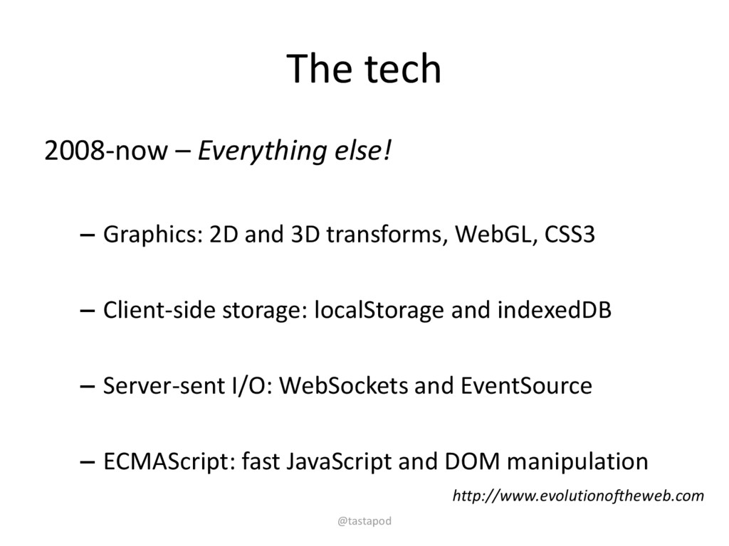 The tech 2008-now – Everything else! – Graphics...