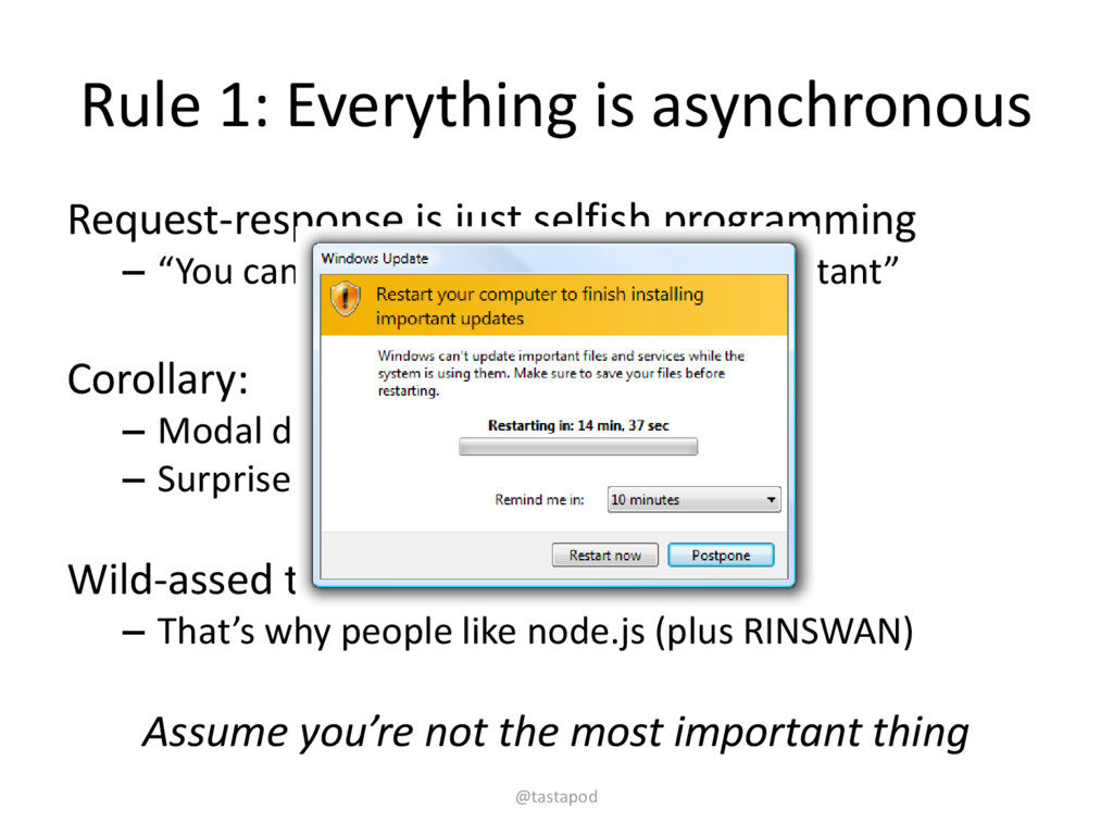 Rule 1: Everything is asynchronous Request-resp...
