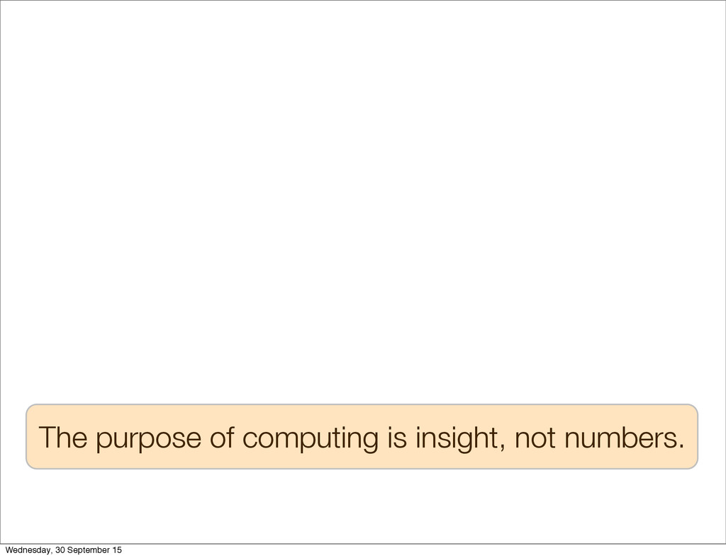 The purpose of computing is insight, not number...