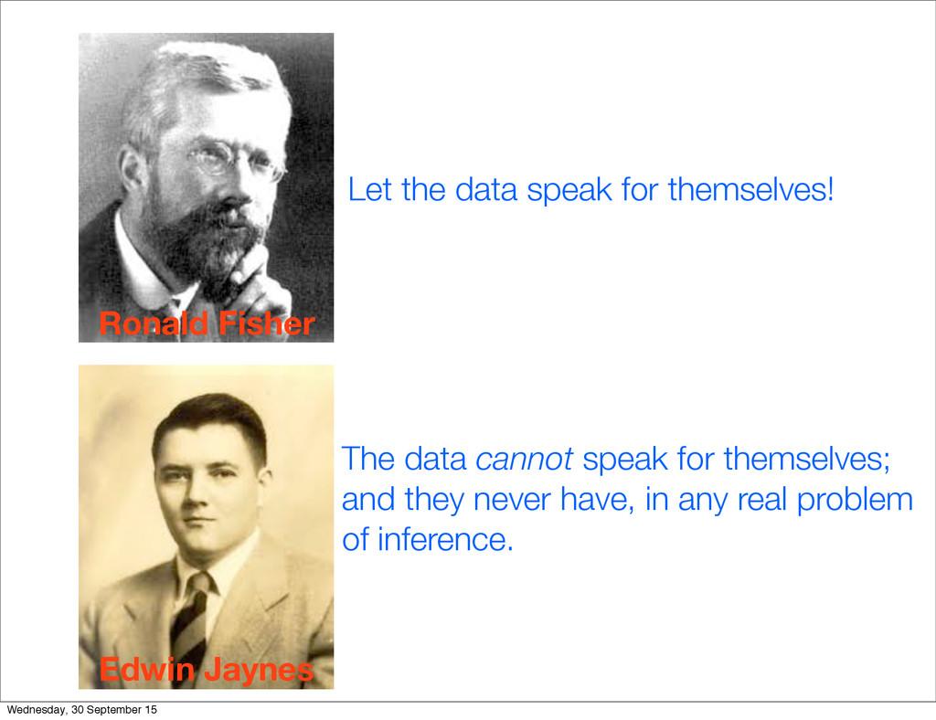 Let the data speak for themselves! Ronald Fishe...