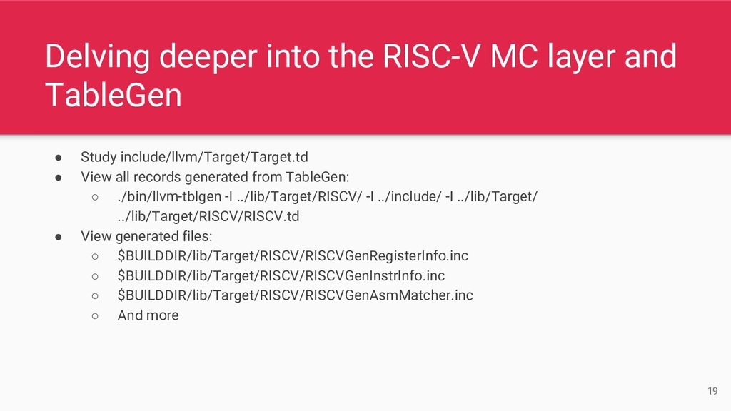 Delving deeper into the RISC-V MC layer and Tab...