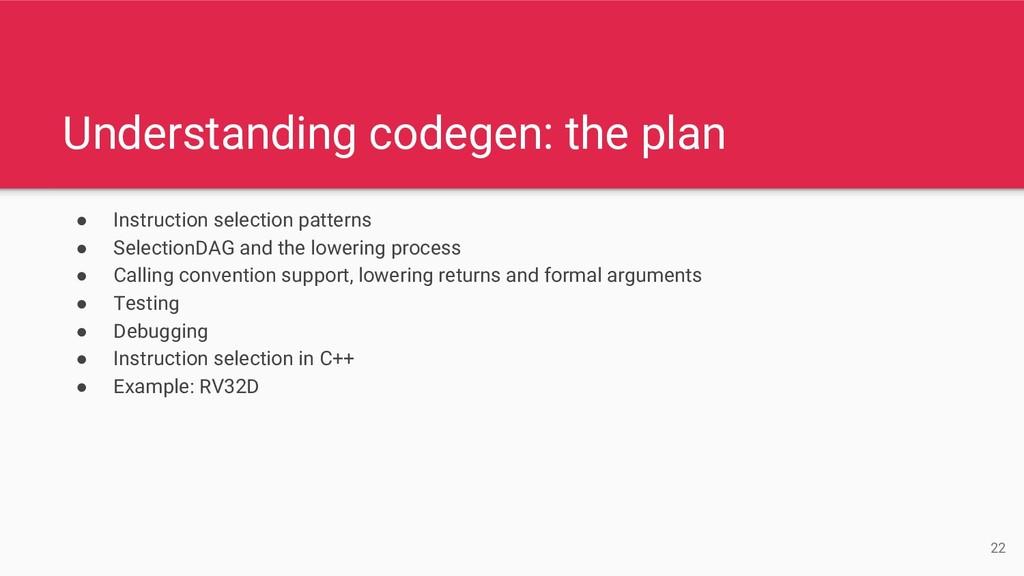 Understanding codegen: the plan ● Instruction s...