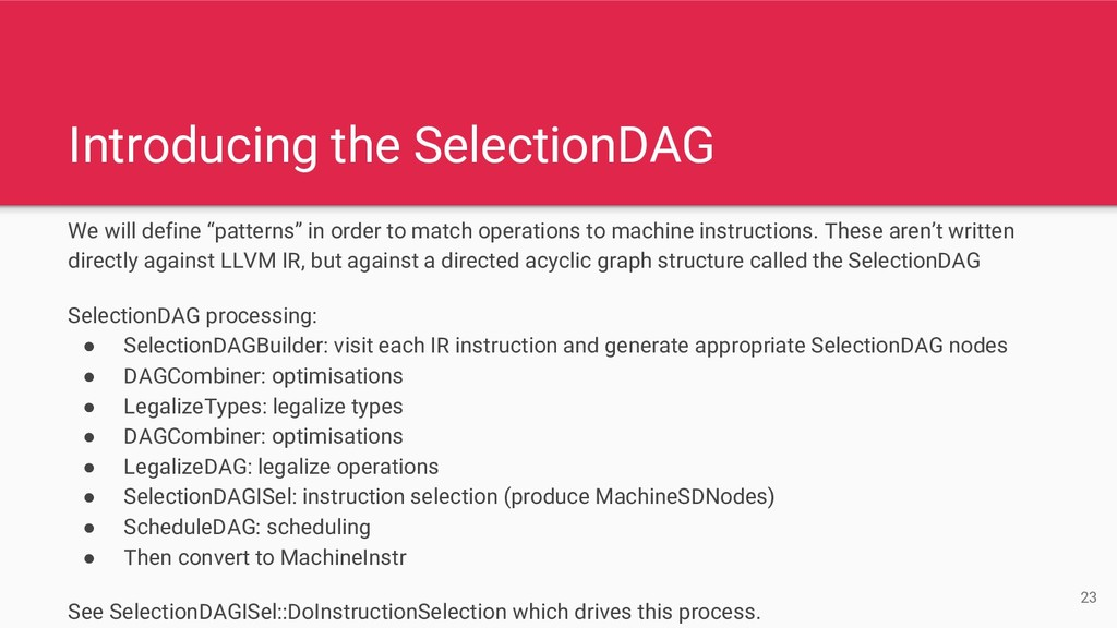 "Introducing the SelectionDAG We will define ""pa..."