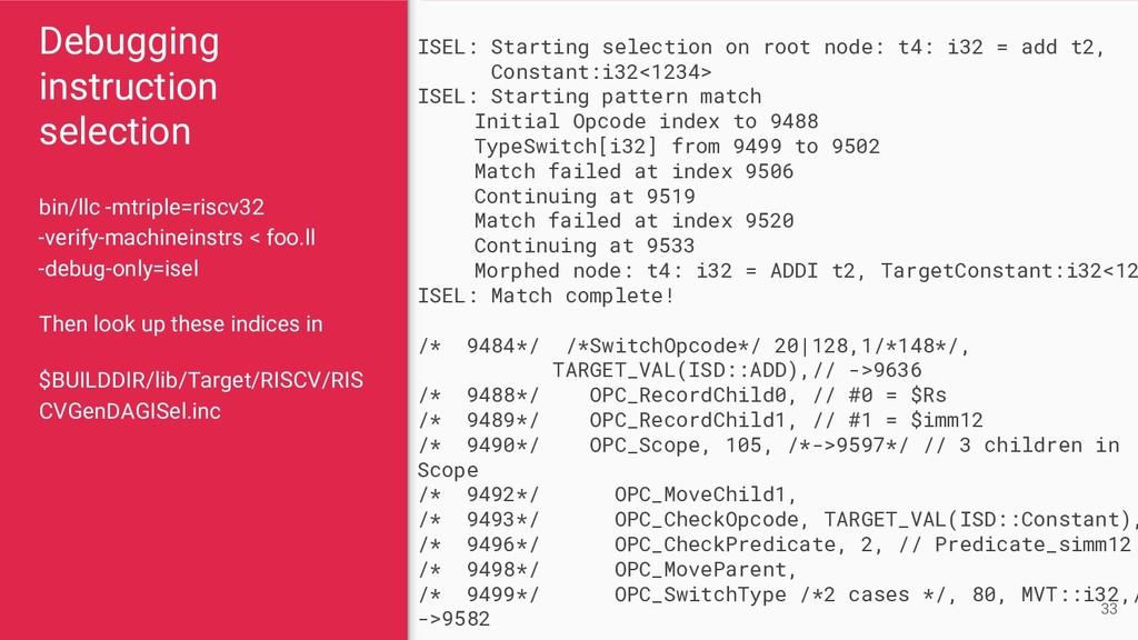 Debugging instruction selection bin/llc -mtripl...