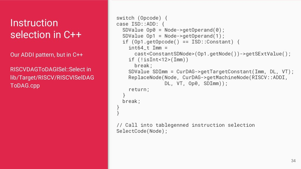 Instruction selection in C++ Our ADDI pattern, ...